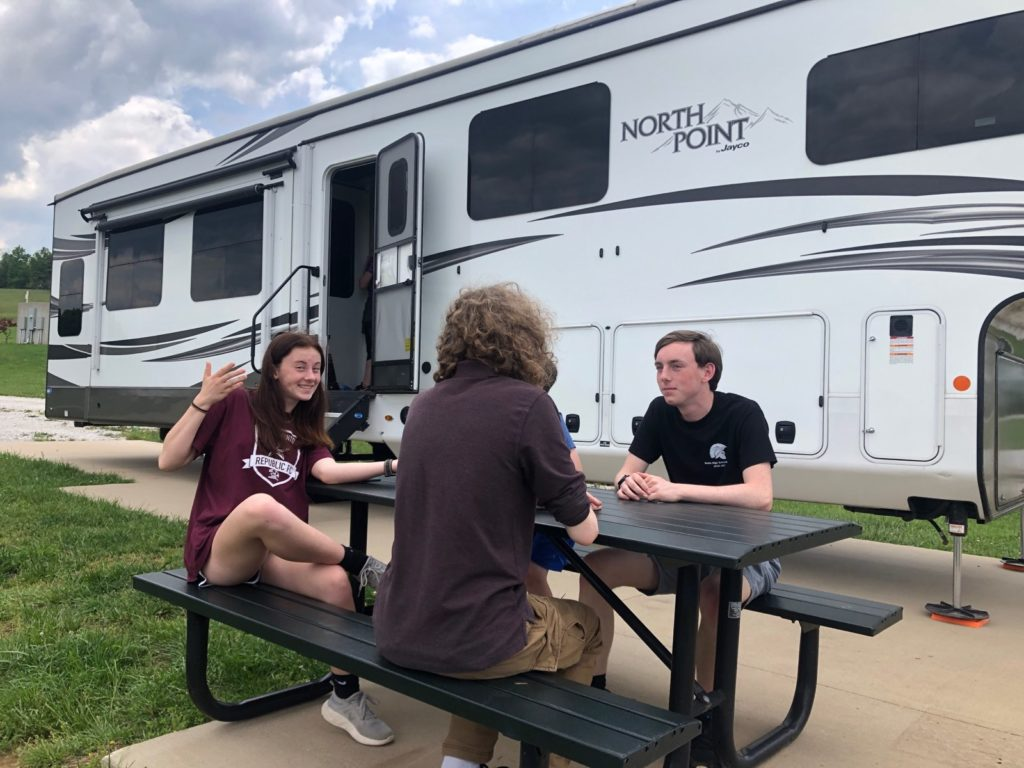 sitting outside the RV