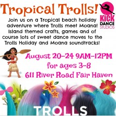 Tropical Trolls, August 20-24, Ages: 3-8