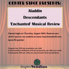 Things to do in Wesley Chapel-Lutz, FL for Kids: Center Stage Auditions: Aladdin, Inspire Studios