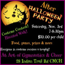 Things to do in Cape May County, NJ for Kids: After Halloween Party Drop Off Event, Art of Gymnastics and Cheer