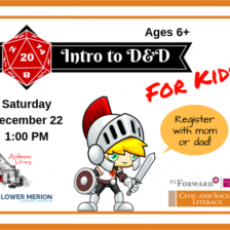 Things to do in Eastern Main Line, PA for Kids: Intro to D&D for Kids, Ardmore Free Library
