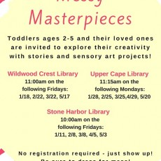 Cape May County, NJ Events: Messy Masterpieces at WW Crest Library (Ages 2-5)